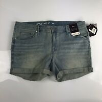Ava Viv Womens Midi Power Stretch Denim Shorts Size 16W