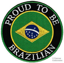 PROUD TO BE BRAZILIAN embroidered iron-on PATCH BRAZIL FLAG applique BRASIL