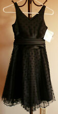 Girls size 7 Dressy Sleeveless Black Satin & Tulle Netting- Bonnie Jean-New WT's