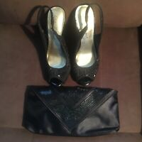 Lulu Townsend Black Shoes size 6 and  Black Clutch.