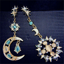 Woman Alloy Moon Sun Blue Crystal Pendant Dangle Drop Ear Stud Earrings Jewelry
