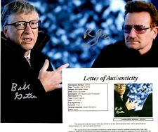 "Bill Gates + Bono Dual Signed 11x14 Photo w/ ""Full Letter"" JSA LOA #Z85300"