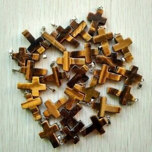 Wholesale 50pcs/lot Natural Cross Tiger eye stone Silver P Beads Pendant 28*20mm