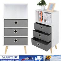 3 tiroirs Table De Chevet Armoire en bois de rangement tiroir chambre à coucher