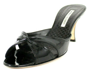 MANOLO BLAHNIK Black Patent Leather Strappy Mid-Heel Slides Sandals 38.5