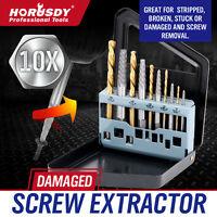 10pc Screw Extractor   Left Hand Cobalt Drill Bit Set Easy Out Broken Bolt