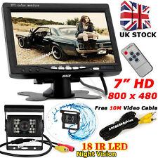 "12V-24V Bus Truck Reverse Rear View 7"" TFT LCD Monitor Kit w/ IR Backup Camera"