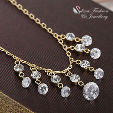 18K Yellow Gold Plated Simulated Diamond Sparkling Waterfall Statement Necklace