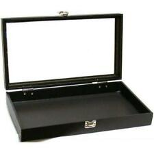 Jewelry Showcase Display Case Glass Top Lid Portable Black Travel Box New