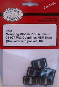 Peco Parkside PA34 10 x Mounting Blocks For NEM Couplings 00 Gauge Plastic Kit 1