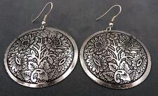 Boucles d'oreille danse orientale Bollywood couleur argent motif fleur Rajasthan