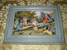 CATS PLAY ON SEE-SAW 4 X 6 blue framed picture Vintage style animal art print