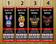 Five Nights at Freddy's Custom Printed Ticket Birthday Invitations 10 wEnvelopes