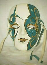 Mardi Gras Wall Art Face Mask Turquoise Gold Abstract Designs White Blue Ribbon