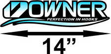 """14"""" Owner Fishing Hooks High Quality Decal Sticker Tackle Box Boat Truck Trailer"""