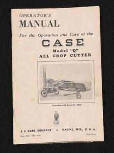 1948 J I CUSTODIA MODEL Q ALL CROP CUTTER OPERATORS MANUAL VERY GOOD SHAPE