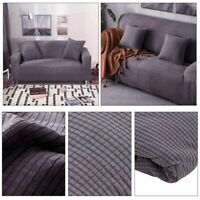 1-3 Seater Sofa Settee Covers Couch Slipcovers Stretch Elastic Fabric GreyUK