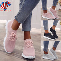Womens Mesh Sneakers Trainers Breathable Sport Elastic Pumps Lace Up Sock Shoes