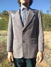 Vtg PIONEER WEAR Western Corduroy Sport Coat M / L Leather Yoke & Trim USA Made