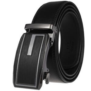 Classic Men's Automatic Buckle Belt Cowskin Leather Belt Ratchet Strap Gift Suit