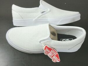Vans Mens Classic Slip On Perf Leather White Skate Casual Shoes Size 11 NWT