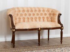 Divano Isabelle stile Barocco Inglese 2 posti noce e foglia oro tessuto damascat