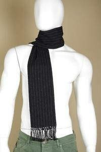Dolce & Gabanna Black Cashmere Silk Wool Striped Reversible Scarf New with Tagss