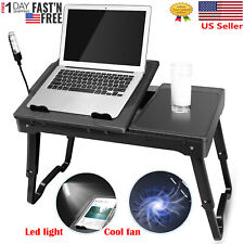 Foldable Laptop Table Notebook PC Desk with Cooling Fan Led light Mouse Board