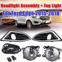 Front Bumper Bezel Fog Lights Lamps Harness Switch Kit For Ford Edge 2015-2018