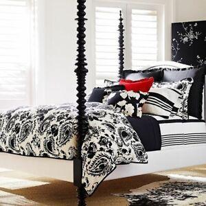 New Ralph Lauren Seville Black/Off White King Duvet Cover Shams Set 7pc