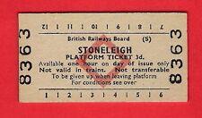 Edmondson Railway Ticket ~ BRB(S) Platform - Stoneleigh - 3d: Red Diamond - 1979