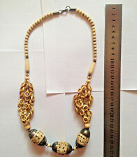 Vintage  Tribal Bovine Bone Ivory Colored Hand Carved Beads Dangling  Rings