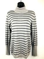 Worthington women's turtleneck sweater size L gray and black striped, shiny