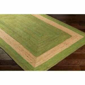 Jute Rug Carpet Handmade Beige & Green 100% Natural Rustic Look Style