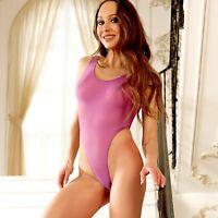 Sexy Cute sheer bodysuit One piece thong swimsuit See through high cut monokini