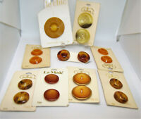 Vintage 1960's Mod Buttons New Old Stock Shades of Gold / Original Cards France
