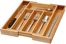 Bamboo 4-Part Expandable Cutlery Drawer Organizer