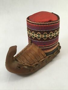 Vintage Moccasin Boot Pin Cushion Red Leather Colorful Design