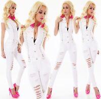 Damen Jeans Overall Jumpsuit Hose Risse Fetzen Destroyed Perlen Zip Denim weiß