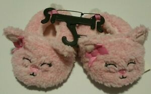 Toddler Girls Pink Cat Slippers - Soft Bottoms - Multiple Sizes - NEW