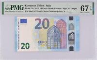 Euro 20 Euro Italy 2015 P 22 S Prefix Superb GEM UNC PMG 67 EPQ