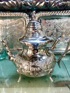 Handmade Moroccan Engraved Silver Plated Teapot MEDIUM SIZE