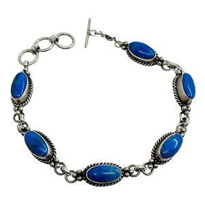 HB Hallmark Sterling Silver & Lapis Lazuli Southwest Toggle Bracelet