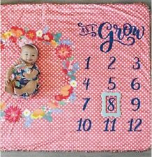 Matilda Jane As I Grow Blanket NWT In Bag Milestone Blanket Pink Polka Dot Baby