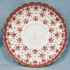 Spode Fleur de Lys Saucer Only Y7481 Red Bone China Gold Trim Scalloped As Is