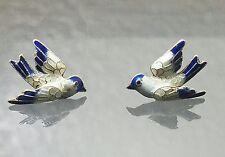 Vintage sterling silver blue and white enamel bird pirced post earrings