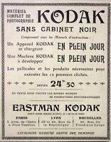 PUBLICITÉ DE PRESSE 1904 APPAREILS KODAK SANS CABINET NOIR EN PLEIN JOUR