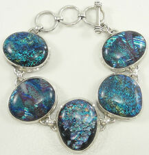 "Sterling Silver Dichroic Glass Bracelet Blue Toggle Clasp Adjustable 7"" - 8"""