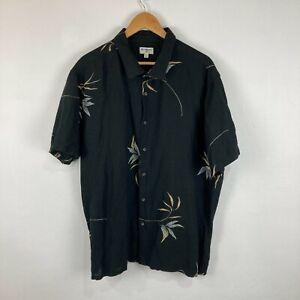 Billabong Mens Button Up Shirt Size 2XL Black Floral Short Sleeve Linen Blend