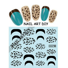 20 Nail art stickers water transfer-Adesivi French-Disegni di Leopardo nero !!